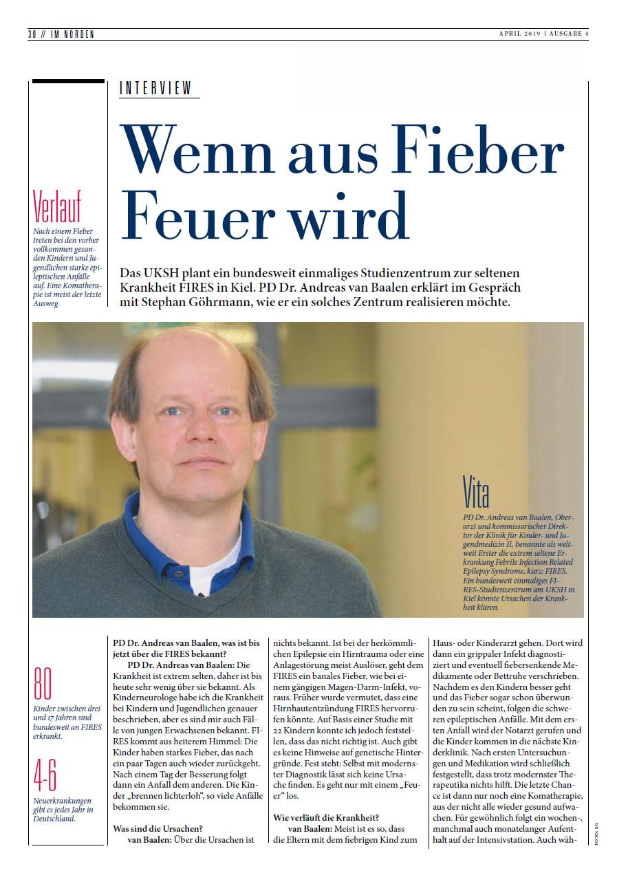 """""""Wenn aus Fieber Feuer wird"""" – Interview mit PD Dr. Andreas van Baalen im Schleswig-Holsteinischen Ärzteblatt vom 22.04.2019"""